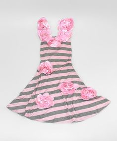 This Pink & Gray Stripe Rosette Maxi Dress - Toddler & Girls by Mia Belle Baby is perfect! #zulilyfinds