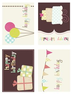 Cute free printables - for those days that I remember it's someone's birthday, but don't have time to make a card!  :)