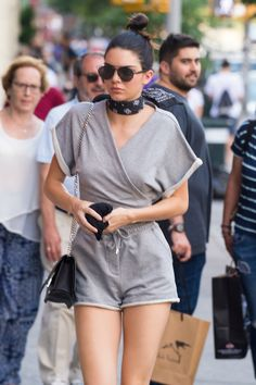 Kendall Jenner wore a gray romper and bandana so now we need to wear a gray romper and bandana. #meangirls