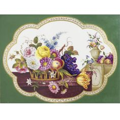 AN ENGLISH PORCELAIN GREEN-GROUND RECTANGULAR PLAQUE CIRCA 1835-40 reserved with a gilt-edged lobed panel painted in the foreground with a basket of flowers and fruit resting on a ledge before a flower-filled vase and an arrangement of fruit on a further ledge, with a carved giltwood frame