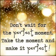 ...Don't wait for the perfect moment. Take the moment and make it perfect....