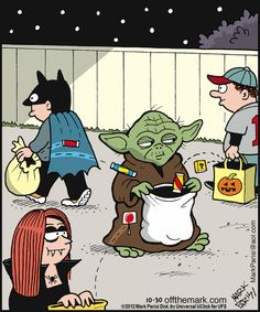 Star Wars Yoda on Halloween. Bd Star Wars, Star Wars Jokes, Star Wars Art, Starwars, Stormtrooper, Darth Vader, The Force Is Strong, Love Stars, Nerdy