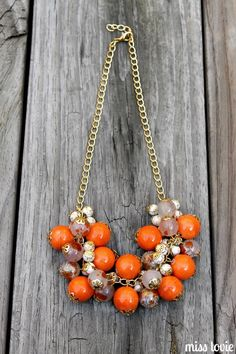 Easy DIY necklace tutorial. You can make your own jewelry! Cute DIY orange necklace! Great idea for a mother's day gift!