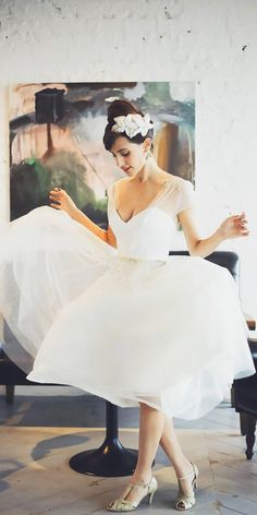Gorgeous Tea Length Wedding Dresses ❤ See more: http://www.weddingforward.com/tea-length-wedding-dresses/ #weddingforward #bride #bridal #wedding