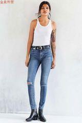Европейская и американская оригинальная одного БДГА дама удобного хлопка стрейч была тонкой талии джинсов нога брюки ноги брюки значительной Mom Jeans, Skinny Jeans, Urban Outfitters, Fitness Models, Legs, Denim, My Style, How To Wear, Cotton