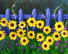 Yellow Daisy flowers and blue fence painting. I am going to paint Touch of Summer at Pinot's Palette - Lakeside to discover my inner artist! Wine And Canvas, Summer Painting, Paint And Sip, Arte Floral, Easy Paintings, Learn To Paint, Pictures To Paint, Painting & Drawing, Fence Painting
