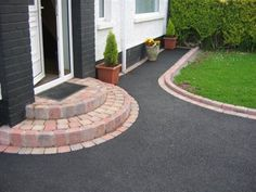 asphalt with old clay brick pavers - Google Search