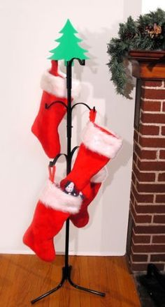 Red And Green Merry Christmas Stocking Holder | Stocking Holders, Christmas  Stocking And Christmas Stocking Holders