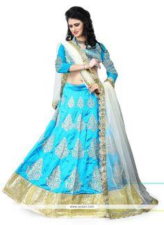 Divine Turquoise Patch Border Work Art Silk Designer Lehenga Choli Model: YOLEN2863