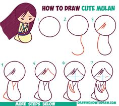 How to Draw Cute Kawaii Chibi Mulan the Chinese Disney Princess - Easy Step by Step Drawing Tutorial for Beginners
