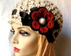 Items similar to SALE Crochet Womens Hat, Beanie, Oatmeal, Very Soft Chunky Wool, Flower, Ribbon, Warm, Teens, Winter, Ski Hat, JE808B2 on Etsy