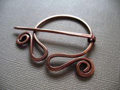 Wandering Circle Copper Penannular Brooch Fibula - Scarf Pin - Shawl Pin - Closure. $18.50, via Etsy.