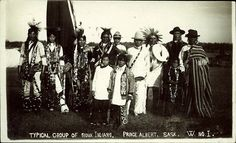 "Prairie Postcards PC002621: Typical group of Sioux Indians. Prince Albert, Sask. (1920])  On Back: ""The Waterworks Series Prince Albert, Sask."""