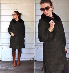 Vintage Fur Collar Suede Leather Coat Olive Green by LaDeaDeiSogni, $198.00