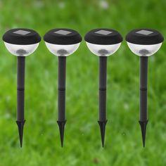 4er-Set Solarlampen rund