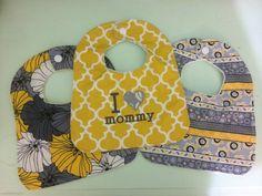 Yellow and gray baby girl bib set of three gray by GoodnessGrayson
