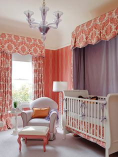 Nursery, coral and lilac, never contemplated the colors before. Valances might be a bit much.