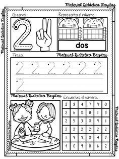 Aprendiendo los números del 1 al 10 en preescolar y primer grado de primaria | Material Educativo Kindergarten Coloring Pages, Kindergarten Math Activities, Preschool Education, Preschool Curriculum, Preschool Classroom, Preschool Worksheets, Numbers Preschool, Homeschool, Learning Centers