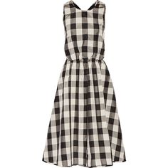 Rochas Cutout gingham silk and cotton-blend midi dress (7.337.090 IDR) ❤ liked on Polyvore featuring dresses, black, fitted midi dress, loose midi dress, gingham dress, midi dress and fitted dresses