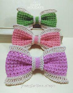 Cutie Bow Crochet Pattern _ you can find _ ~ V Double Crochet Stitch ~ Pattern : A Chain sli. Crochet Hair Bows, Crochet Summer Hats, Crochet Hair Accessories, Kids Hair Accessories, Crochet For Kids, Crochet Dolls, Crochet Flowers, Crochet Bows Free Pattern, Crochet Stitches Patterns
