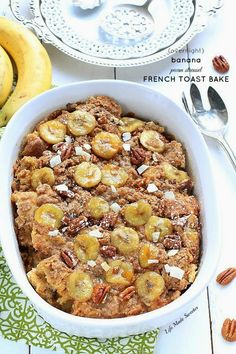 {Overnight} Banana Pecan Streusel French Toast Bake - An overnight baked french toast casserole with a creamy banana filling topped with a cinnamon, pecan & brown sugar streusel Banana French Toast, French Toast Bake, Breakfast Desayunos, Breakfast Recipes, Breakfast Ideas, Breakfast Casserole, Recipes With Breakfast Sausage Links, Overnight Breakfast, Easy Brunch Recipes