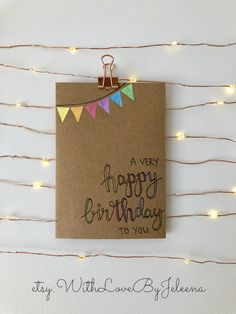 For sale on etsy! Happy Birthday Cards Handmade, Creative Birthday Cards, Simple Birthday Cards, Bday Cards, Birthday Gifts, Watercolor Birthday Cards, Birthday Card Drawing, Karten Diy, Diy Crafts For Gifts