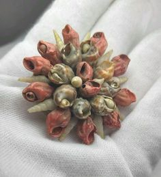 "Vintage Large Shell Flower Brooch / Pin Hand Made 2"" #handmade"