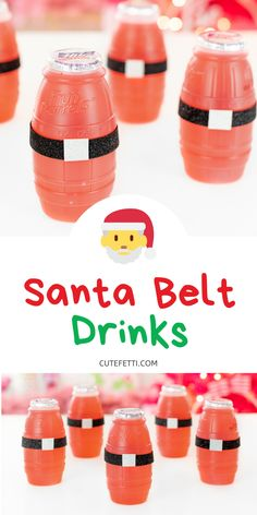Cute Santa Belt Drinks that are an easy craft for kids and perfect for Christmas parties! SO simple to make in seconds. Christmas Party Finger Foods, Christmas Party Drinks, Christmas Snacks, Kids Christmas, Christmas Recipes, Xmas, Holiday Countdown, Holiday Fun, Finger Foods For Kids