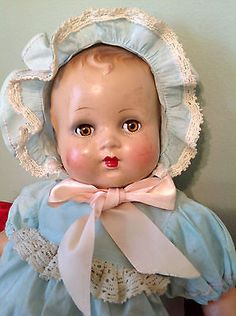 """Vintage Composition Pretty Baby Doll Excellent Condition! Unmarked 18"""""""