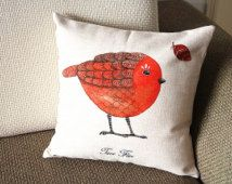 """Designer Linen Pillow - beige red bird and Floral Pillow Cover -18"""" 45 cm /22"""" 55 cm Decorative Cushion Cover Throw Pillow cover  80"""