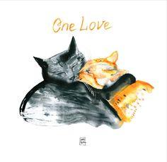 One love cats / catart for catlovers /digital print  from watercolor artwork  / 2017 / art by MariLova https://www.facebook.com/MariLova
