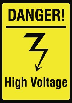 Danger! High Voltage Picture Sign - Large 12 x 18 Electricity Warning Safety Signs - Aluminum (Silver) Metal 6 Pack