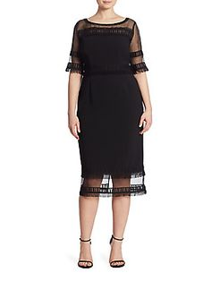 Marina Rinaldi, Plus Size Diabase Fringe Trimmed Dress