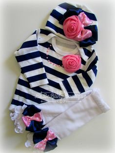 Newborn Girl Take Home Outfit, Navy and pink Onesie, beanie hat and leg warmers, Baby Girl Coming Home Outfit, Baby Girl Clothing Set by BeBeBlingBoutique on Etsy https://www.etsy.com/listing/253319318/newborn-girl-take-home-outfit-navy-and