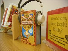 """Libraries have some of the best display ideas! Here's one to promote audiobooks: """"Heard Any Good Books Lately?"""""""