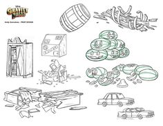Gravity Falls Prop Design - Andy Gonsalves.com - Various Items Before and After