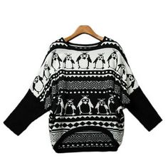 European Penguin Pattern Irregular Batwing Sweaters