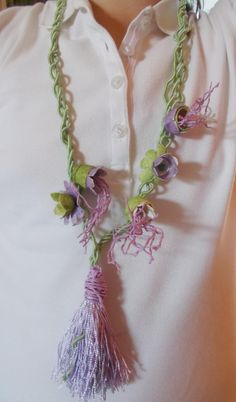 Silk cocoon organic flower necklacehandmade fresh by mademeathens