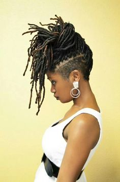 Locs in updo with undercut – dreads - Best New Hair Styles Dreadlock Styles, Dreadlock Hairstyles, Afro Punk, Shaved Side Hairstyles, Cool Hairstyles, Braids With Shaved Sides, Natural Hair Styles, Short Hair Styles, My Hairstyle