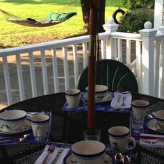 Breakfast on the deck @James Place Inn Bed and Breakfast