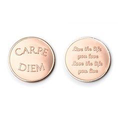 Mi Moneda munt  Artikelnummer: Love - Carpe Diem rose   Dames sieraad    Small MON-CAR-03-S € 12,50 Medium MON-CAR-03-M € 15,00 Large MON-CAR-03-L € 17,50      € 12,50  Select Currency Euro Pound