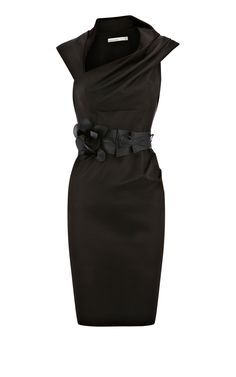 Karen Millen Orchid corsage fitted Dress Black ,fashion Karen Millen Solid Color Dresses outlet