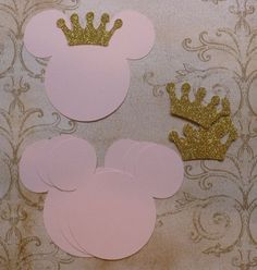 4 Baby Minnie Mouse Head Shapes Princess Gold Glitter Crowns Die Cut pieces for crafts DIY Kids Crafts Birthday Party Banners Tags etc. Minnie Mouse Theme, Minnie Mouse Baby Shower, Mickey Minnie Mouse, Minnie Birthday, Birthday Crafts, 3rd Birthday Parties, Birthday Ideas, Minnie Princess, Party Banners