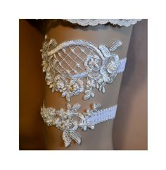 Ivory Lace Wedding Garter Set, Wedding Garter, Ivory Beaded Lace Bridal Garter Belt, Ivory Silver Trim Lace Bridal Garter Set by SpecialTouchBridal on Etsy