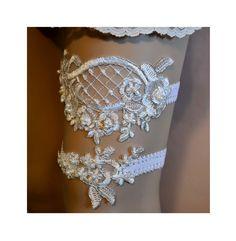 Ivory Lace Wedding Garter Set, Wedding Garter, Ivory Beaded Lace Bridal Garter Belt, Ivory Silver Trim Lace Bridal Garter Set by SpecialTouchBridal on Etsy