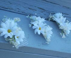 wedding bridal hair accessories, daisy hair comb, bridesmaid hair flowers Hippie flower power Babys Breath budget bride on Etsy, $12.95