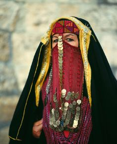 Veiled Jordanian lady in traditional costume
