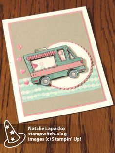 Valentine shaker card with Tasty Trucks stamps from Stampin' Up! Design by Natalie Lapakko.