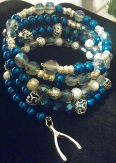 Blue with silver