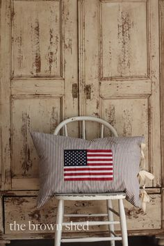 American Flag on Ticking Stripe Pillow Cover by thebrownshed, $55.00